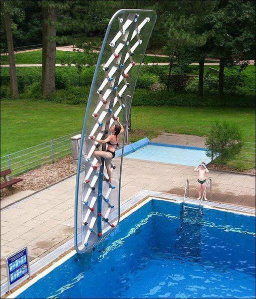 piscina e arrampicata